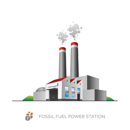 Isolated fossil fuel power station icon on white background in cartoon style