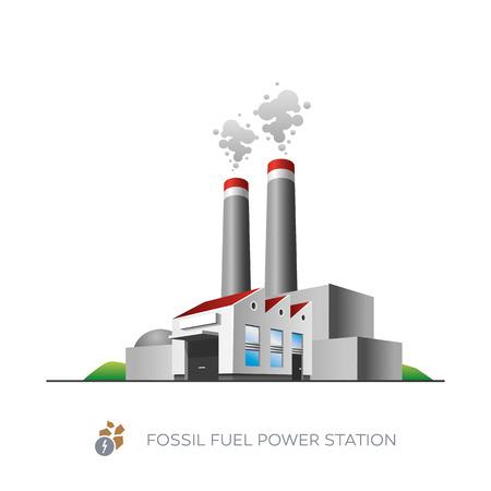 fossil: Aislado icono de la estaci�n de energ�a con combustibles f�siles en el fondo blanco en el estilo de dibujos animados