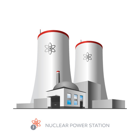 kraftwerk: Isolierte Kernkraftwerk-Symbol auf weißem Hintergrund in Cartoon-Stil Illustration