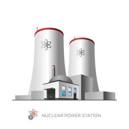 Pojedyncze ikony elektrowni jądrowej na białym tle w stylu kreskówki