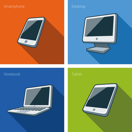 Icon set of four computer devices in cartoon style consisting of smartphone, laptop, monitor screen, tablet, mini tablet