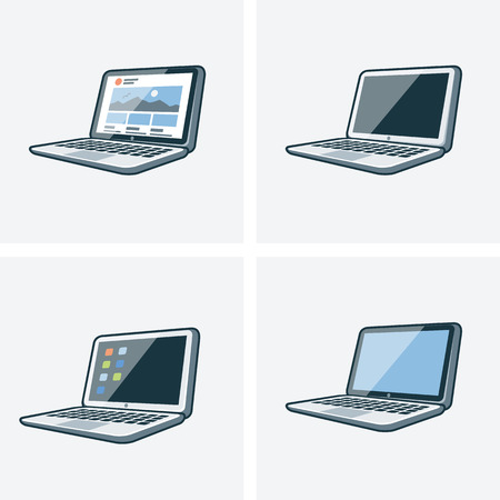 Set of four isolated laptop icon illustration in cartoon style with different desktop background