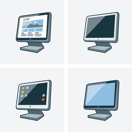 Set of four isolated desktop pc monitor icon illustration in cartoon style with different desktop background Stock Vector - 27711077