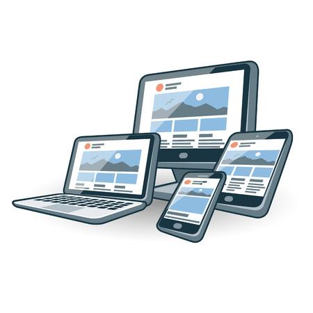 別の画面スマート フォン、ラップトップ、モニター画面、タブレット、ミニ タブレット デバイスで応答性の高いウェブサイトのデザインのアイコ
