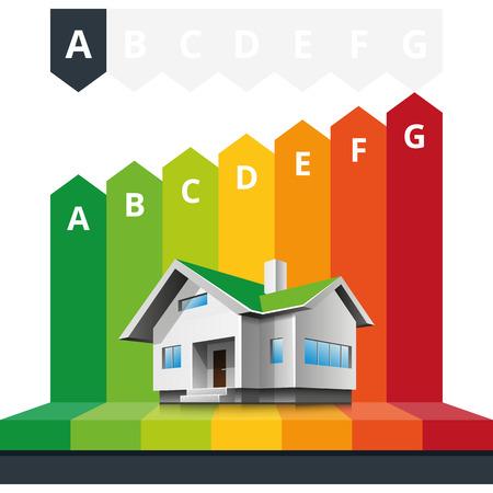 eficiencia energetica: Ilustraci�n vectorial infograf�a simple del certificado de clasificaci�n casa de la eficiencia energ�tica