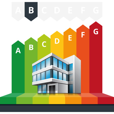 energy classification: Simple infographic vector illustration of building energy efficiency classification certificate