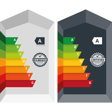 energy classification: Simple infographic vector illustration of energy efficiency classification certificate class  Suitable for house, building, home appliances or electronic devices  Other alphabet letters in hidden layer