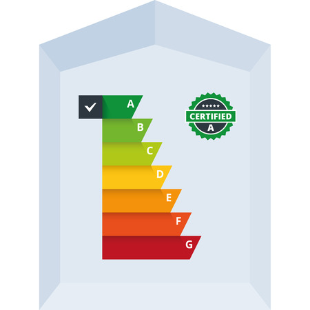 energy classification: Simple infographic vector illustration of energy efficiency classification certificate class  Suitable for house, building, home appliances or electronic devices