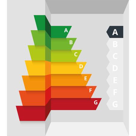 clasificacion: Ilustraci�n vectorial infograf�a simple de la eficiencia energ�tica de clase certificado de clasificaci�n adecuados para las casas, construcci�n, electrodom�sticos o aparatos electr�nicos