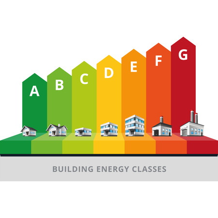 energy classification: Infographic vector illustration of buildings energy efficiency classification with house, office and factory   Illustration