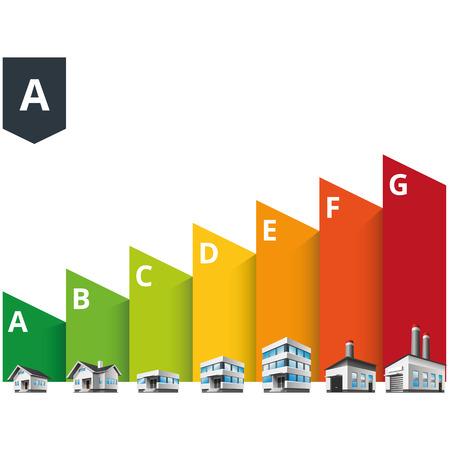 clasificacion: Ilustraci�n vectorial Infograf�a de clasificaci�n de edificios de eficiencia energ�tica con la casa, la oficina y la f�brica Vectores