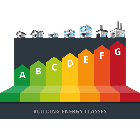 Infographic vector illustration of buildings energy efficiency classification with house, office and factory   Vectores