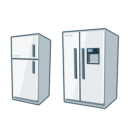 Two cartoon vector icons of refrigerator and side-by side refrigerator  일러스트
