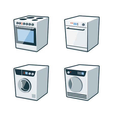 washer machine: Set of four vector icons of an oven cooker, dishwasher, washing machine and dryer Illustration