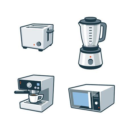 トースター、ミキサー、コーヒー メーカー、電子レンジの 4 つの漫画のベクトル アイコンのセット