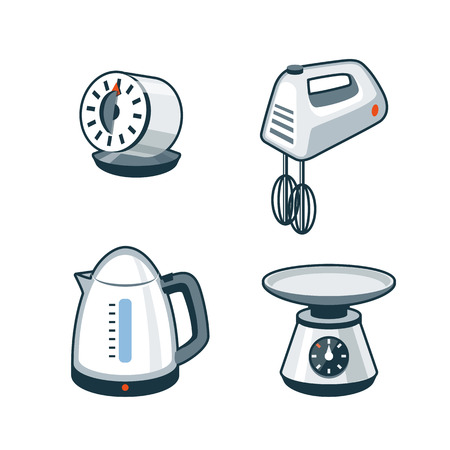Set of four cartoon vector icons of a kitchen timer, hand mixer, electric kettle and kitchen scale  Illustration