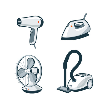 Set of four cartoon vector icons of a hair dryer, clothes iron, mechanical fan and canister vacuum cleaner