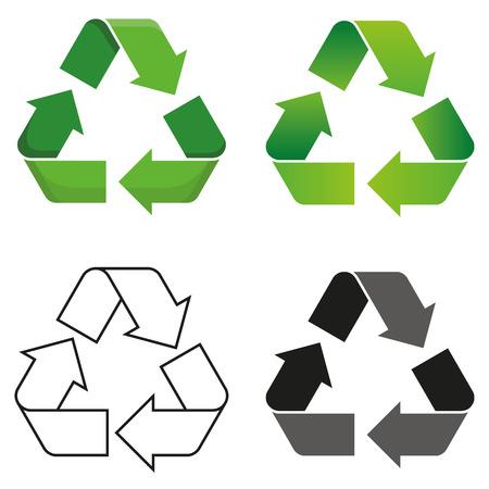 reciclar: Conjunto de cuatro aislados símbolo vector reciclar