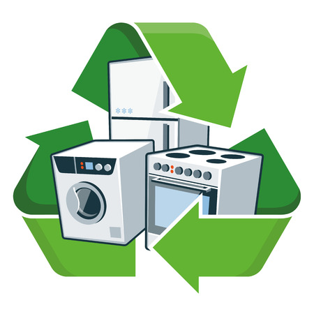 Large electronic home appliances with recycling symbol  Isolated vector illustration  Waste Electrical and Electronic Equipment - WEEE concept