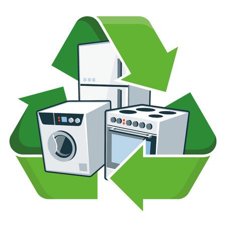 reciclar basura: Grandes electrodom�sticos electr�nicos con ilustraci�n vectorial s�mbolo de reciclaje Aislado residuos de aparatos el�ctricos y electr�nicos - RAEE concepto Vectores