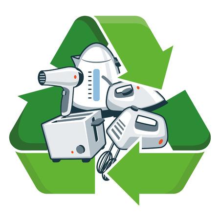Kleine elektronische huishoudelijke apparaten met recycling symbool geïsoleerd vector illustratie Afgedankte Elektrische en Elektronische Apparatuur - WEEE-concept Vector Illustratie