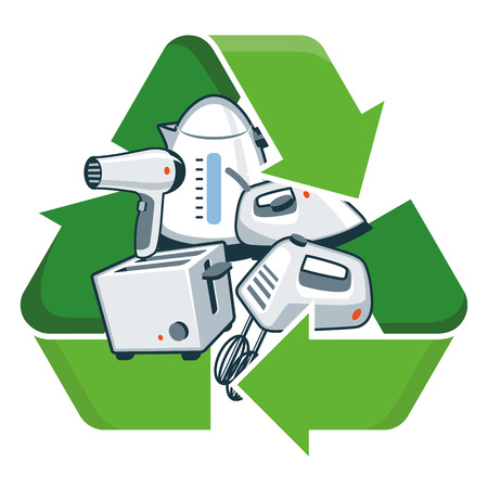 Small electronic home appliances with recycling symbol  Isolated vector illustration  Waste Electrical and Electronic Equipment - WEEE concept  Vectores