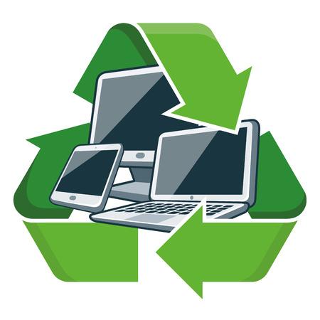 reciclar basura: Dispositivos electrónicos con ilustración vectorial símbolo de reciclaje Aislado residuos de aparatos eléctricos y electrónicos - RAEE concepto