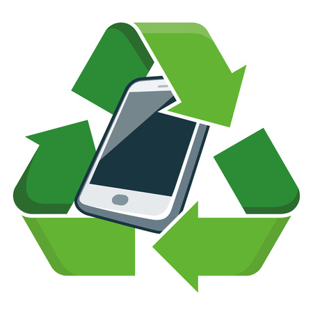 Electronic device phone with recycling symbol  Isolated vector illustration  Waste Electrical and Electronic Equipment - WEEE concept