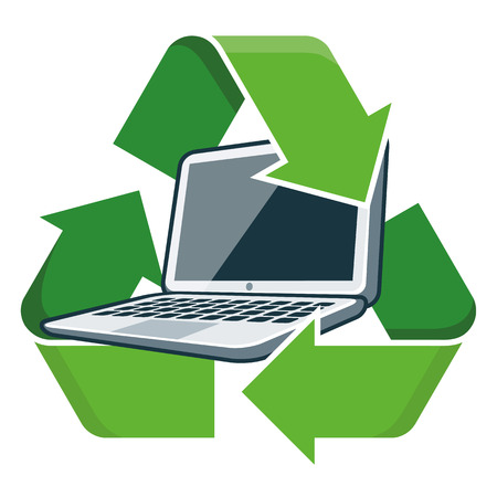 Electronic device laptop with recycling symbol  Isolated vector illustration  Waste Electrical and Electronic Equipment - WEEE concept
