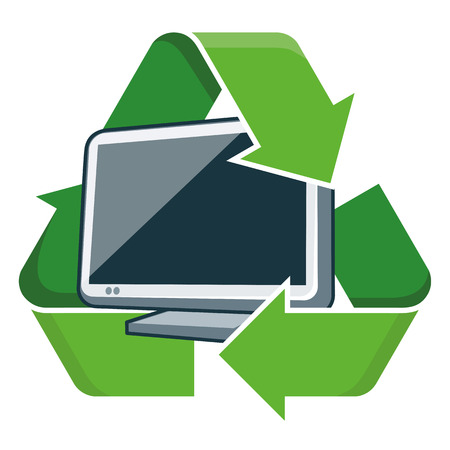 electronic device: Electronic device television with recycling symbol  Isolated vector illustration  Waste Electrical and Electronic Equipment - WEEE concept  Illustration