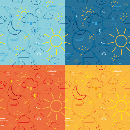 Set of four weather seamless pattern tiles made of icons
