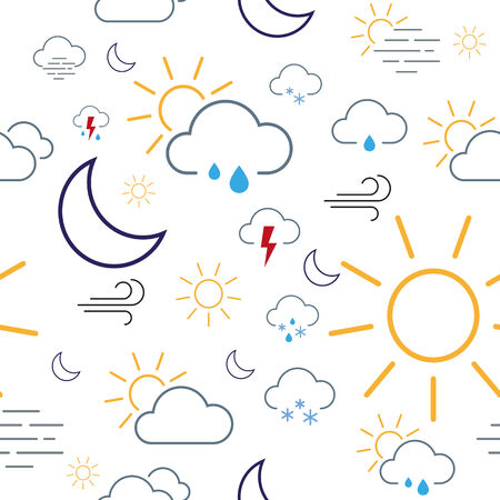 Seamless pattern tile made of isolated weather icons
