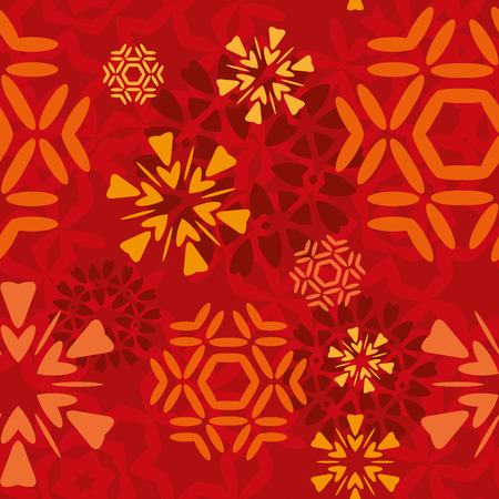 Red seamless snowflakes pattern tile Illustration