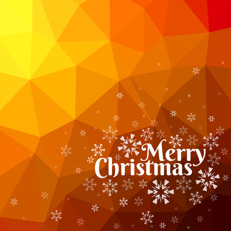Merry Christmas card with snowflakes on abstract triangle mesh background