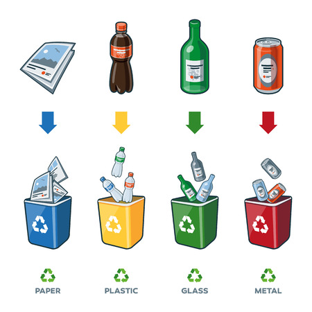 Four recycling bins illustration with paper, plastic, glass and metal separation.