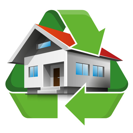 house energy: Family house with recycling symbol. Isolated vector illustration. Recycling concept. Illustration