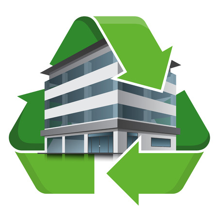 Office building with recycling symbol. Isolated vector illustration. Recycling concept. 向量圖像