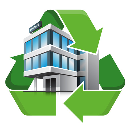 office environment: Office building with recycling symbol. Isolated vector illustration. Recycling concept. Illustration