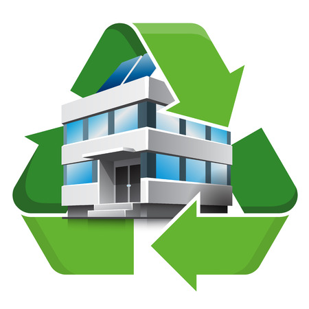 eco building: Office building with recycling symbol. Isolated vector illustration. Recycling concept. Illustration