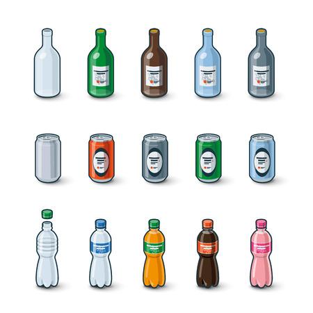 Ilustración de la botella de vidrio transparente, latas de aluminio y botellas de plástico en la modificación de la bebida de color diferente con etiquetas. Ilustración de vector