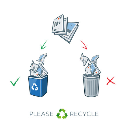recycle bin: Paper recycling separation waste bins. Simplified scheme illustration in cartoon style of paper waste sorting in two baskets. Throw away the paper in correct trash can.