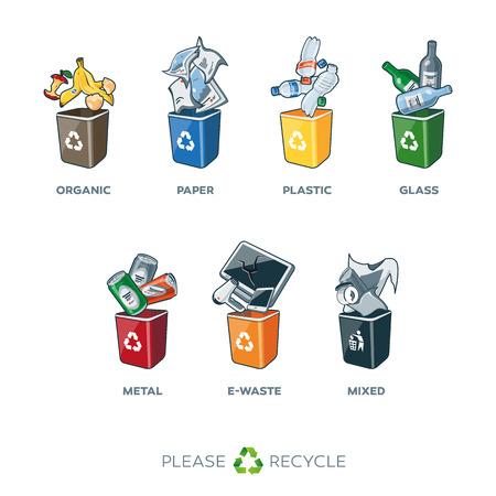 reciclar basura: Ilustración de contenedores de reciclaje de separación Vectores