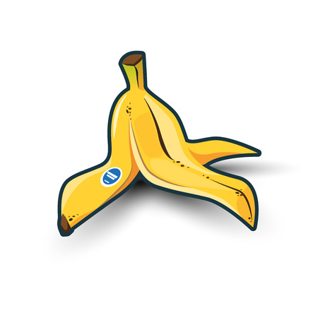 Illustration of isolated yellow banana peel on white background with shadows.