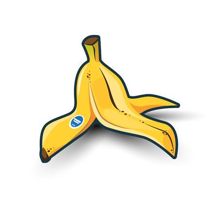 banana caricatura: Ilustraci�n de aislado amarillo c�scara de pl�tano en el fondo blanco con las sombras.