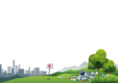 reciclar basura: ilustración de tirar basura en el verde de la naturaleza con el paisaje urbano en el fondo