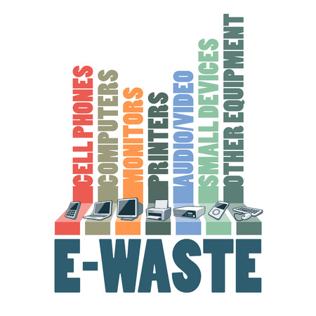 Electronic waste categories composition infographic. Ewaste consisting of used cell phones computers monitors printers audio video devices and other electric waste. Waste Electrical and Electronic Equipment Directive WEEE management concept. Ilustração