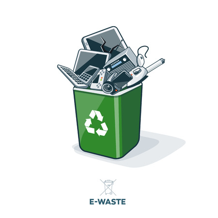 Electronic waste in green recycling bin with discarded electrical and electronic devices such as computer monitor cell phone radio television video camera keyboard iron and mouse. Ewaste concept. Иллюстрация