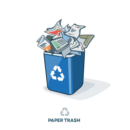 Paper waste in blue recycling bin with disposed paper products such as letters flyers brochures magazines folders and other. Waste segregation management concept.