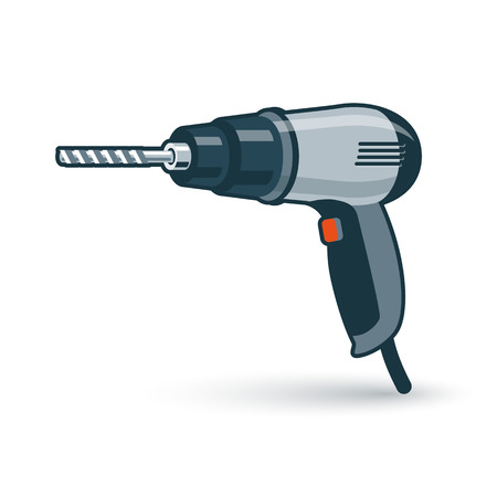 electric drill: Vector illustration of isolated hand drill drilling machine in cartoon style. Illustration