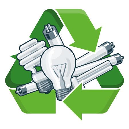 tubos fluorescentes: Bombillas usadas con el símbolo de reciclaje verde en el estilo de dibujos animados. Ilustración vectorial aislados en fondo blanco. Residuos de Aparatos Eléctricos y Electrónicos RAEE concepto. Vectores